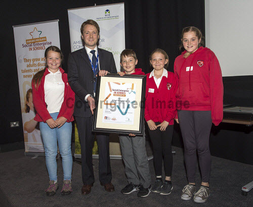 Social Enterprise in Schools Awards 2017 Eden Court Theatre Inverness  Pupils of Balnain Primary School  get their award from Peter Guthrie from HIE     PIC   Trevor Martin/HIE 2017,schools,school,pupils,pupil,awards,award,social,enterprise