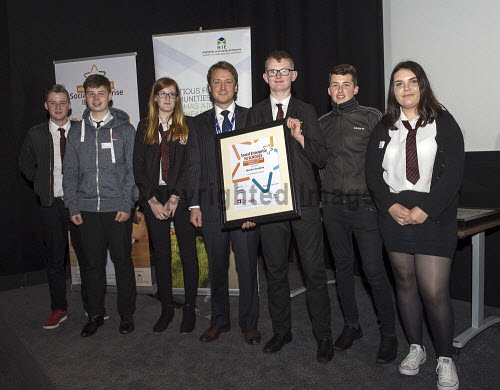 Social Enterprise in Schools Awards 2017 Eden Court Theatre Inverness  Pupils from Dornoch Academy receiving their award from Peter Guthrie    PIC   Trevor Martin/HIE 2017,schools,school,pupils,pupil,awards,award,social,enterprise