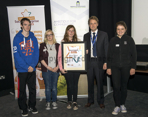 Social Enterprise in Schools Awards 2017 Eden Court Theatre Inverness  Pupils of Inverness High School  get their award from Peter Guthrie from HIE       PIC   Trevor Martin/HIE 2017,schools,school,pupils,pupil,awards,award,social,enterprise