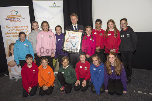 Social Enterprise in Schools Awards 2017 Eden Court Theatre Inverness  Pupils of Milton of Leys Primary School  get their award from Peter Guthrie from HIE       PIC   Trevor Martin/HIE 2017,schools,school,pupils,pupil,awards,award,social,enterprise