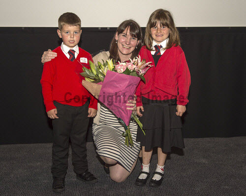 Social Enterprise in Schools Awards 2017 Eden Court Theatre Inverness  Tracy Rennie Education Co-ordinator gets presentation of flowers from kids from Sgoil an Rubha    PIC   Trevor Martin/HIE 2017,schools,school,pupils,pupil,awards,award,social,enterprise