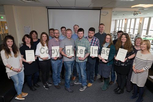 Delegates receiving their certificates on completing the Emerging Leaders Leadership course, Sullom Voe, Shetland 12/5/2017 Picture Credit Ben Mullay /HIE 2017,certificates,learning,education,Emerging leaders leadership