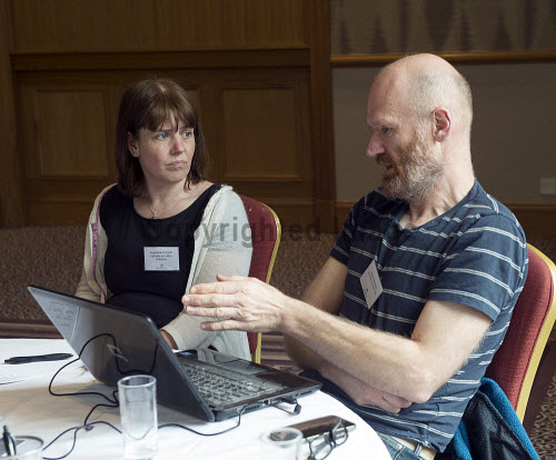 HIE CAM Event  Drummossie Hotel Inverness  26th April 2017  Account manager Jacqueline McDonell in conversation with Steve Robertson, Local Development Officer for Isle of Rum Community Trust.   PIC. TREVOR MARTIN/HIE Community,Communities,Community led development,account management,CAM,LDO,Conference,event
