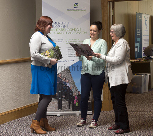 HIE CAM Event  Drummossie Hotel Inverness  26th April 2017   L-R: Kirsten Logue (HIE Account Manager), Morven Gibson and Brik Halcrow (South West Mull & Iona Development)   PIC. TREVOR MARTIN/HIE Community,Communities,Community led development,account management,CAM,LDO,Conference,event,Gaelic