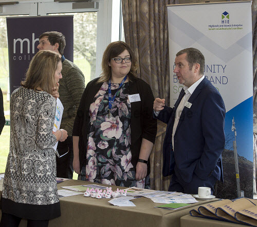 HIE CAM Event  Drummossie Hotel Inverness  26th April 2017  Calum Stiven (back left),  Amy Peters and Murray Allen (behind the table) representing Community Broadband Scotland   PIC. TREVOR MARTIN/HIE Community,Communities,Community led development,account management,CAM,LDO,Conference,event