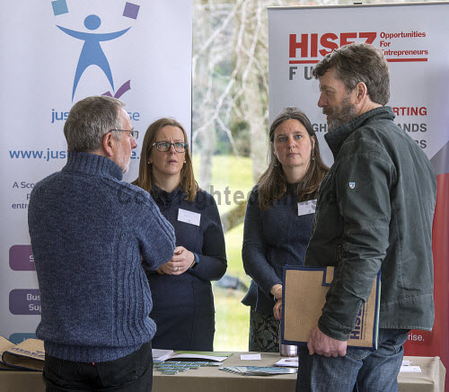 HIE CAM Event  Drummossie Hotel Inverness  26th April 2017  From HISEZ, Polly Chapman and Mary Riddoch in conversation with Brian Weaver (CEO of HISEZ, front left) and Iain Muir (Chair of Coigach Community Development Company, front right)   PIC. TREVOR MARTIN/HIE Community,Communities,Community led development,account management,CAM,LDO,Conference,event