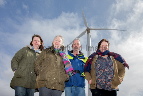 A new wind turbine is now in operation at Achiltibuie.  Pictured L-R: Julia Campbell (Development Officer), Anne Campbell (Development Officer), Phil Shaughnessy (Director), Ann Macleod (Director)   Picture Credit Malcolm McCurrah/HIE wind turbine,renewable energy,green,power,Achiltibuie,Ullapool,5,April,2017