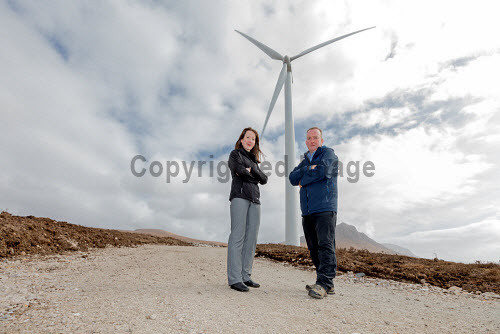 A new wind turbine is now in operation at Achiltibuie.  Pictured L-R: Lindsay Simpson (Development Manager), Stuart MacPherson (Head of Strengthening Communities)  Picture Credit Malcolm McCurrah/HIE wind turbine,renewable energy,green,power,Achiltibuie,Ullapool,5,April,2017