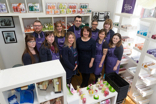 Cope Shetland  Back row L-R � Darren Johnson, Allison Miller, Robbie Inkster, Mark Chivers and Hannah Simpson Front row L-R � Renata Sinclair, Joanne Anderson, Katrina Wiseman HIE, Ingrid Webb CEO of Cope, Sarah Hutchison and Nadine Samuel   Picture Credit Ben Mullay /HIE COPE,2017,Shetland,soap,staff,workers