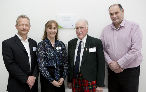 Dunoon - 24.2.17 - Fairmile Opening  The official opening of Fairmile Building, Dunoon.   Pictured - (L to R) Brendan Wallace of BC Technologies, Jennifer Nicoll, HIE area manager, David Boyd of the Sceptre Preservation Society. and Ken Coley of Samteq.  Stuart Nimmo Photography/ HIE 2017,Fairmile,dunoon,business,offices