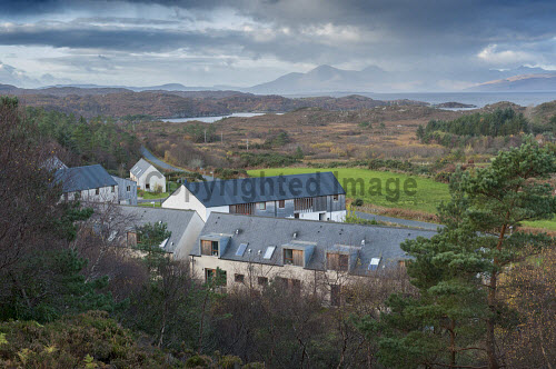 Plockton Housing 15/11/2016  Burnside housing development: Developed by Lochalsh & Skye Housing Association 24 units: affordable rent and shared equity Built on croft land  Aerial views of Burnside housing  Picture Credit Cailean Maclean/HIE 2016,community,shoot,Plockton,crofting,housing