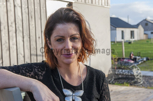 Reraig Housing, Balmacara, 15/11/2016  Reraig housing development: Developed by Highlands Small Communities Housing Trust 4 x Rent to Buy homes Built on land previously owned by Kinlochshiel Shinty Club Reraig resident Amanda MacRae in front of her house  Picture Credit Cailean Maclean/HIE 2016,community,shoot,Balmacara,crofting,housing,reraig