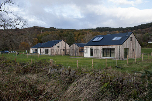 Reraig Housing, Balmacara, 15/11/2016  Reraig housing development: Developed by Highlands Small Communities Housing Trust 4 x Rent to Buy homes Built on land previously owned by Kinlochshiel Shinty Club Picture Credit Cailean Maclean/HIE 2016,community,shoot,Balmacara,crofting,housing,reraig