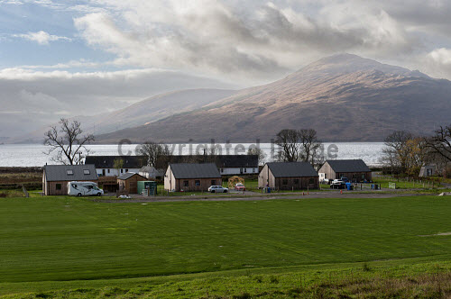 Reraig Housing, Balmacara, 15/11/2016  Reraig housing development: Developed by Highlands Small Communities Housing Trust 4 x Rent to Buy homes Built on land previously owned by Kinlochshiel Shinty Club Kinlochshiel Shinty pitch in front of Reraig housing  Picture Credit Cailean Maclean/HIE 2016,community,shoot,Balmacara,crofting,housing,reraig