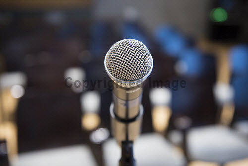 A microphone in a conference centre  Picture Credit John Paul / HIE DiscoverDigital 2016,Conference,conferences,conventions,convention,meeting,meetings,seats,seat,seating,2016,exhibition,exhibitions,expo,chair,chairs,delegate,delegates,audience,audiences,digital,microphone,#DiscoverDigital,#HelloDigital