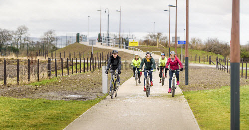 On 12th February 2016, the cycle and pedestrian link between Inverness Campus and Inverness Retail Park was opened, as part of a cycling advocacy event at Inverness College UHI.  Representatives of the project's funders - HIE, Sustrans and Hitrans - were all present at the event, together with the developers (Pat Munro Ltd and Torrance Partnership), the local cycle advocacy group, and Cllr Margaret Davidson and Drew Hendry (MP for Inverness, Nairn, Badenoch & Strathspey).