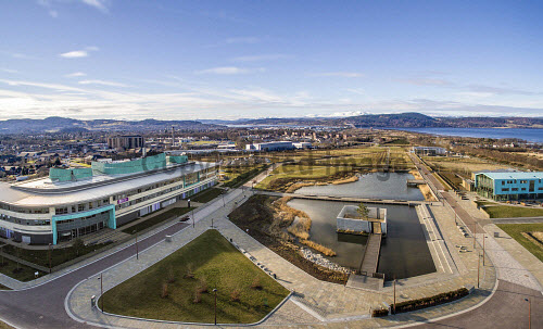 Inverness Campus Aerial, March 8th 2016.  Photographed from a DJI Inspire 1 drone   Picture Credit Kirk Watson /HIE Inverness,Campus,2016,Highlands,Islands,Enterprise,HIE,UHI,overview,snow,hills,mountains,aerial