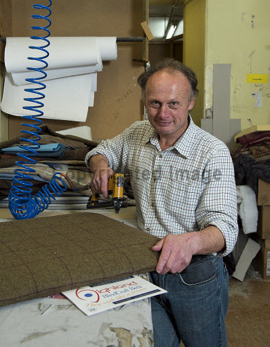 Highland Blindcraft Inverness  Employee Geoff Sweetman putting the finishing touches to Tweed Headboard  PIC   Trevor Martin /HIE 2016,staff,employees,worker,working,blindcraft,inverness,production,beds,furniture