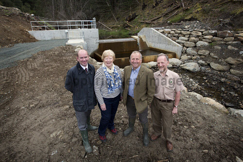 Lochgoilhead - 30.8.16 - Lochgoil Hydro  The Lochgoil Hydro scheme  Pictured - left to right -  James Buchan Local Energy Scotland, Elizabeth Bain Lochgoil Energy Ltd, Pete Clarke Lochgoil Energy Ltd and Malcolm Crosby Forestry Commission.  Picture Credit Stuart Nimmo /HIE 2016,hydro,power,green,water,renewable,donich water
