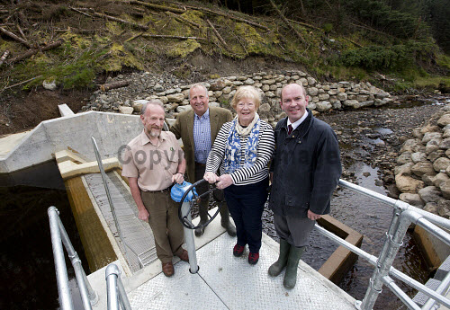 Lochgoilhead - 30.8.16 - Lochgoil Hydro  The Lochgoil Hydro scheme  Pictured - left to right - Malcolm Crosby Forestry Commission, Pete Clarke Lochgoil Energy Ltd, Elizabeth Bain Lochgoil Energy Ltd and James Buchan Local Energy Scotland.   Picture Credit Stuart Nimmo /HIE 2016,hydro,power,green,water,renewable,donich water