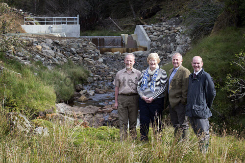 Lochgoilhead - 30.8.16 - Lochgoil Hydro  The Lochgoil Hydro scheme  Pictured - left to right - Malcolm Crosby Forestry Commission, Elizabeth Bain Lochgoil Energy Ltd, Pete Clarke Lochgoil Energy Ltd and James Buchan Local Energy Scotland.  Picture Credit Stuart Nimmo /HIE 2016,hydro,power,green,water,renewable,donich water