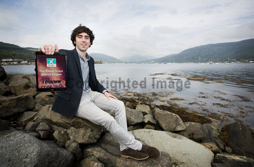 """Sam Coley founder of Samteq pictured near  his Dunoon office with the app he created """"tickX""""   Picture Credit Stuart Nimmo /HIE 2016,Samteq,digital,apps,app,sam,coley"""