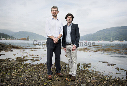 Sam Coley founder of Samteq pictured near his Dunoon office with David Smart from HIE.