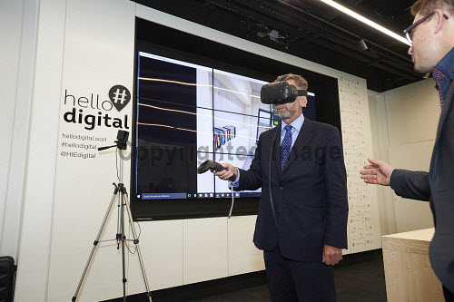 Lord Dunlop visit to Inverness Campus.  Lord Dunlop with Matt Stevenson, Carbon Dynamic in the Hello digital room.   Picture Credit Ewen Weatherspoon /HIE 2016,Lord Dunlop,campus,inverness,digital