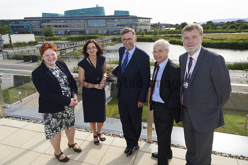 Lord Dunlop visit to Inverness Campus.  Lord Dunlop  with Margaret Davidson, Highland Council, Charlotte Wright HIE, Jeff Howarth, UHI and Crichton Lang UHI.  Picture Credit Ewen Weatherspoon /HIE 2016,Lord Dunlop,campus,inverness