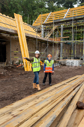 HIE representative Helen Cameron visits the Drimnin Distillery site and is shown progress by Annabel Thomas of Drimnin Distillery  Picture Credit Kenny Ferguson /HIE 2016,drimnin,distillery,building site