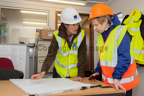 HIE representative Helen Cameron visits the Drimnin Distillery site and is shown progress by Annabel Thomas of Drimnin Distillery