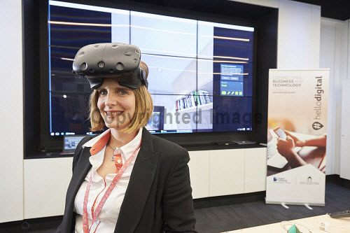 FIT Homes VR Demonstration in the Digital Demonstration Centre, HIE, An Lochran, Inverness 17/6/16  April Conroy of HIE  Pic : Ewen Weatherspoon /HIE 2016,virtual reality,reality,virtual,digital,room,headset,headsets,technology,model,demonstration,centre,#hellodigital