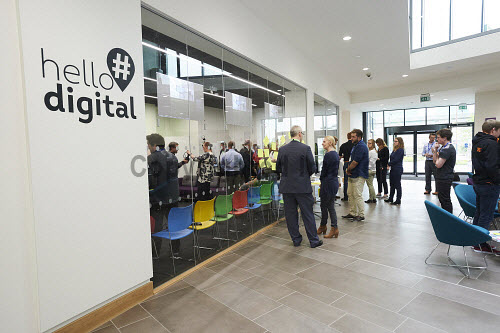 FIT Homes VR Demonstration in the Digital Demonstration Centre, HIE, An Lochran, Inverness 17/6/16   Pic : Ewen Weatherspoon /HIE 2016,virtual reality,reality,virtual,digital,room,headset,headsets,technology,model,demonstration,centre,#hellodigital