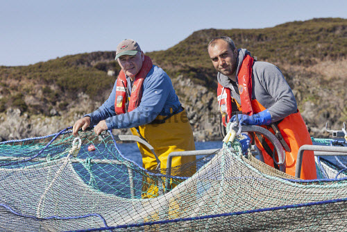 Loch Duart Salmon  Staff members and nets  Picture Credit : Gary Doak 2016,Loch Duart,salmon,aquaculture,sutherland,badcall,fishing,cages,cage,pens,pen,workers,worker,fish