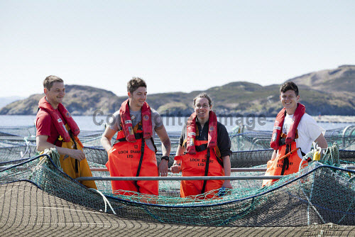 Loch Duart Salmon  Staff members   Picture Credit : Gary Doak 2016,Loch Duart,salmon,aquaculture,sutherland,badcall,fishing,cages,cage,pens,pen,workers,worker,fish