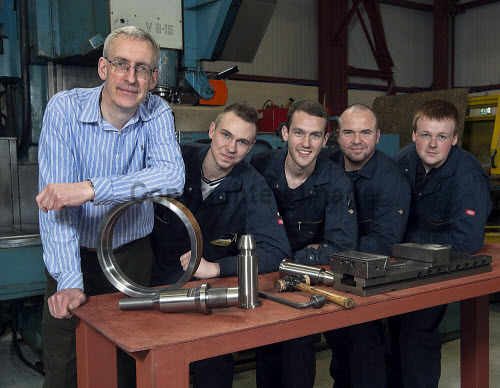 Shandwick Supply Co Evanton David McLaughlin Managing Director with apprentices Neil Large, Paul MacDonald, Allen Rouse and Alistair MacKenzie Pic.  Trevor Martin /HIE 2016,precision,engineering,apprentice,appprentices,workshop,evanton,shandwick,machines,machinery,engineers,engineer