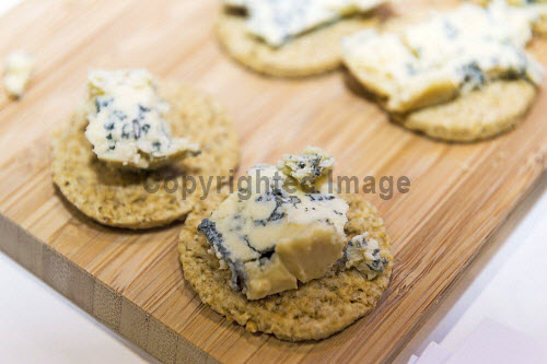 Highlands and Islands Enterprise and Sail Scotland stand at the CWM FX London Boat Show, London. 09.0614  Pictured here blue cheese and oatcake canapes. 2014,highlands,islands,enterprise,event,UK,england,year of food and drink,produce,food,eating,drink,SailScotland