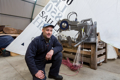 Sail Line Fish Ltd - uses a sail assisted commercial fishing vessel and is based at Lunnister, Sullom on Mainland, Shetland.  Pictured here Stuart Balfour of Sail Line Fish Ltd.  Picture Credit : John Coutts / HIE 2014,isles,island,isle,shellfish,industry,food,export,exporting,product,products,boat,boats,fishing,balpha,mast,collapsible,system,environment,environmentally,friendly,develop,development www.couttsphotos.com