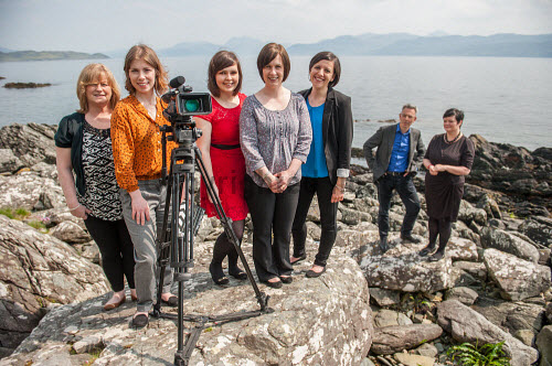 Young Films staff and Caroline Forsyth from Highlands and Islands Enterprise seen here on the Isle of Skye. Pictured here L-R : Annette Kerr, Young Films, Mairead Hamilton, Young Films, Laura MacLennan, Young Films, Sarah Jane Campbell, Young Films, Marsaili Shields, Young Films, Chris Young, Young Films and Caroline Forsyth, HIE.  Picture Credit : Cailean MacLean/HIE 2014,highlands,islands,enterprise,young,film,films,filming,filmaker,filmakers,art,arts,island,isle,inner,hebrides,highland,tv,televison,drama,camera,tripod