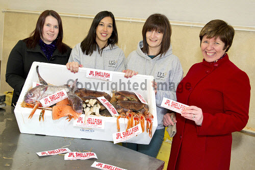 JPL Shellfish, Scrabster, Caithness, Highland..Highlands and Islands Enterprise is supporting the company, enabling it to develop its business..Pictured here (L-R) Laura Gunn, HIE, Christina Logue, Mandy Gillies, (both JPL Shellfish) and Annemarie Monteforte, HIE..16.01.13..Picture Credit: Angus Mackay /HIE 2013,highlands,islands,enterprise,fish,food,produce,expansion,international,market,markets,fishing,industry,local,locally,sourced