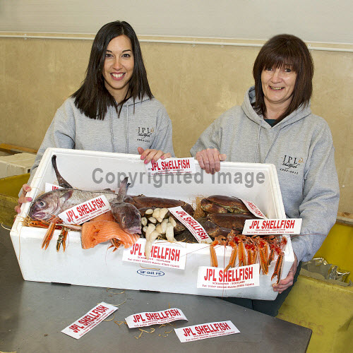 JPL Shellfish, Scrabster, Caithness, Highland..Highlands and Islands Enterprise is supporting the company, enabling it to develop its business..Pictured here (L-R) from JPL Shellfish, Christina Logue and Mandy Gillies..16.01.13..Picture Credit: Angus Mackay /HIE 2013,highlands,islands,enterprise,fish,food,produce,expansion,international,market,markets,fishing,industry,local,locally,sourced