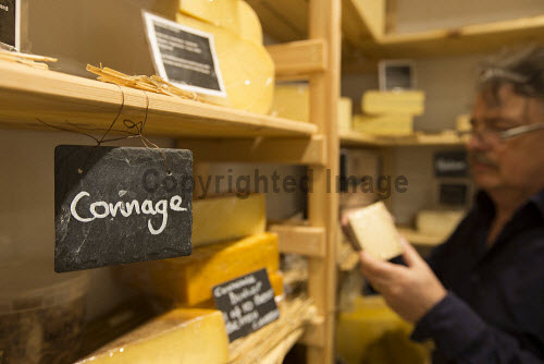 Connage Highland Dairy - organic dairy farm selling a distinctive collection of handcrafted farmhouse cheeses, Milton of Connage, Inverness, Highlands of Scotland.  Pictured here perusing a selection of products from the Cheese Pantry shop.  Picture Credit : John Paul / HIE 2013,summer,highland,islands,enterprise,family,business,traditional,farming,agriculture,product,production,manufacture,food,eating,gift,gifts,variety,varieties,wedge,wedges