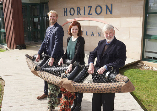 LtoR:  Galen Fulford Eleanor Adams, Michael Shaw,  (All Biomatrix) with the core structure of a floating edge eco system. Horizon Building, Forres Enterprise Park. Moray. 27/09/13 Picture Credit Ewen Weatherspoon /HIE judging,award,2013,awards