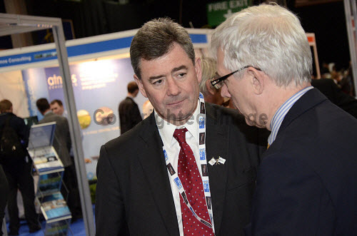 All Energy 2013 Exhibition and Conference at the AECC, Aberdeen. 22nd May 2013  Pictured here Professor Lorne Crerar, Chairman of HIE (left) attending the event.  Picture Credit: Chris Robson / HIE   ***Please note as event photography this picture should only be used in context and not as generic imagery.*** concepts,energy,enterprise,event,exhibitors,green,highlands,islands,networking,product,projects,renewable,renewables,services,technology,centre,people,delegates