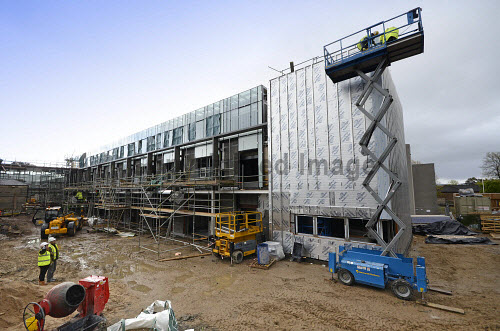 The construction of the new Alexander Graham Bell Centre - the Moray Life Science Centre, at Moray College UHI, Elgin, Moray..It is a joint initiative between Moray College and NHS Grampian, both of whom will occupy the building. The project is being delivered and funded by a partnership of Moray College UHI, Highlands and Islands Enterprise (HIE), NHS Grampian and the European Regional Development Fund..23.05.13..Picture Credit : Chris Robson / HIE 2013,highlands,islands,enterprise,winter,building,architecture,modern,development,education,study,site,campus,university