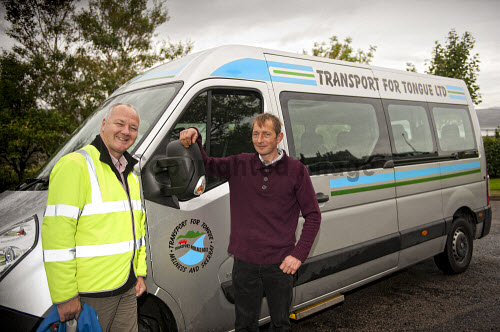 The Transport for Tongue bus serving the North Coast Connections Kyle Centre - a health and well being hub for the local community, Tongue, Sutherland, Highlands of Scotland. Pictured here (L-R) David Macleod and Ian Macmillan.  Picure Credit : Mike Brookes Roper / HIE 2013,highlands,islands,enterprise,communities,transport,scheme,minibus,day,care,daycare,service,services,social,wellbeing,charity,charitable,trust