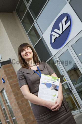 AVC Group's unique Renewable Technology Showroom, the first of its kind in Scotland, Laxford House, Cradlehall Business Park,.Inverness, Highlands of Scotland. .The showroom offers the public a chance to see renewable technologies such as Solar Thermal, Solar PV and Biomass systems, LED lighting solutions, Underfloor Heating and Commercial Hot Air distribution working in both domestic and commercial settings. ..Pictured here Michelle Havercroft, the centre's manager...Picture Credit : John Paul / HIE 2013,highlands,islands,enterprise,exterior,building,modern,working,environment,technology,energy,people