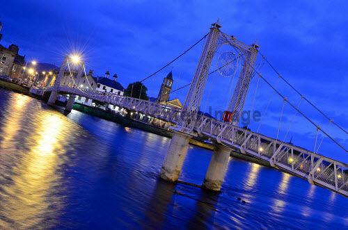 The Greig Street footbridge across the River Ness at night in the city centre of Inverness..07.06.12..Picture credit : Tim Winterburn / HIE 2012,Highlands,Islands,Enterprise,scenic,atmospheric,suspension,water,dusk,evening