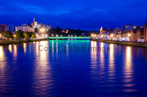 The the River Ness at night in the city centre of Inverness..07.06.12..Picture credit : Tim Winterburn / HIE 2012,Highlands,Islands,Enterprise,scenic,atmospheric,castle,floodlights,dusk,evening