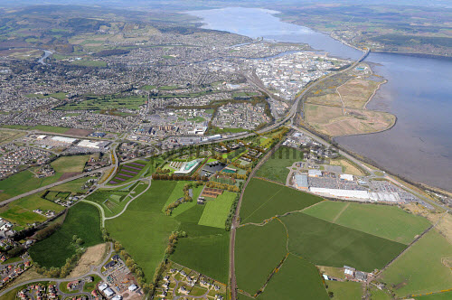 An aerial view of the proposed Inverness Campus being built east of the city centre of Inverness..The site will be a premier business location for inward investment to Scotland. It has the capacity to support up to 6,000 jobs over the next 30 years, and generate more than �38m for the regional economy every year. Construction began January 2012...Picture Credit : Inverness Campus / HIE highlands,islands,enterprise,site,facility,education,UHI,university,college,moray,firth,computer,representation,graphic,generated,image
